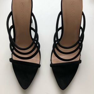 Black Strappy Mule Heels